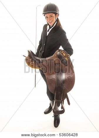 Beautiful Young Woman Outfit With Horses And A Horse Saddle