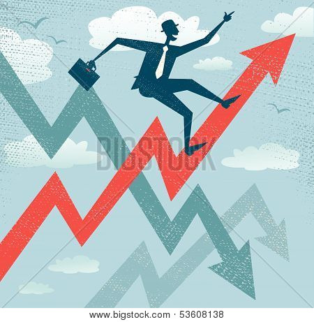 Abstract Businessman Climbs the Sales Chart.