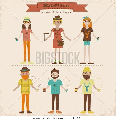 Hipster girls and boys set