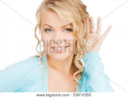 business, communication concept - bright picture of happy woman listening gossip