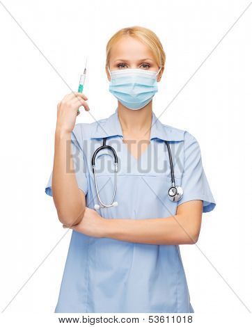healthcare and medical concept - female doctor or nurse in medical mask holding syringe with injection