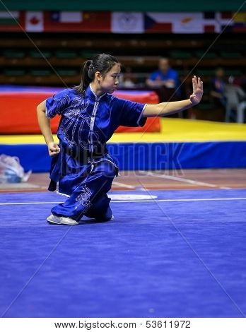 KUALA LUMPUR - NOV 03: Emily Huang of the USA shows her fighting style in the 'changquan compulsory' event at the 12th World Wushu Championship on November 03, 2013 in Kuala Lumpur, Malaysia.