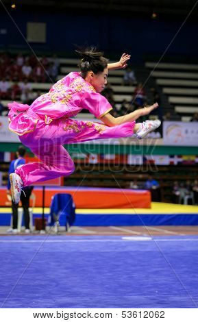 KUALA LUMPUR - NOV 03: Emily Fan of the USA shows her fighting style in the 'changquan compulsory' event at the 12th World Wushu Championship on November 03, 2013 in Kuala Lumpur, Malaysia.