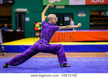 KUALA LUMPUR - NOV 03: Brenda Hartley of the USA shows her fighting style in the 'changquan compulsory' event at the 12th World Wushu Championship on November 03, 2013 in Kuala Lumpur, Malaysia.