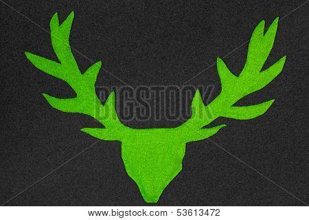 Green Deer With Antler