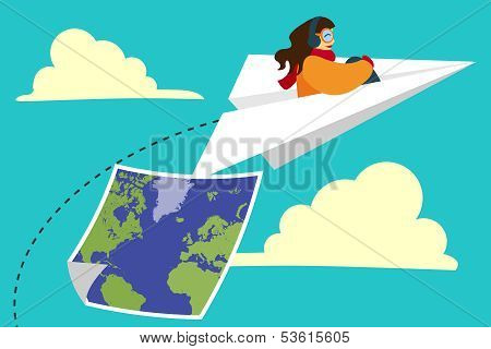 Girl Flying On Paper Plane