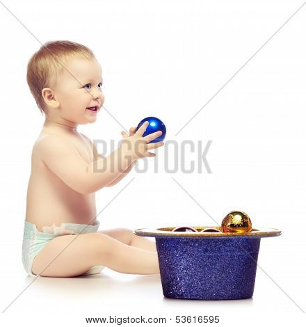 Baby With Chrismas Balls
