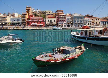 Panorama Of Aghios Nikolaos In Crete, Greece.