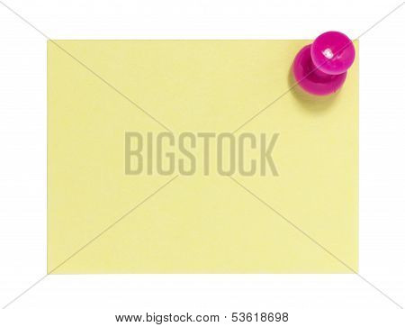 Rectangular sticky note with pink pin