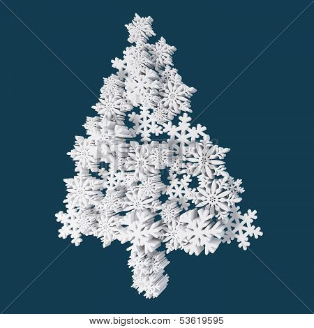 Christmas Card Application From Plastic Snowflakes. On Navy (Blue) Background. Space For Text Freely