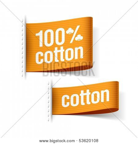 100% cotton product clothing labels. Vector.