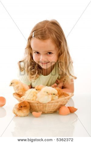 Happy Little Girl With Her Chicks
