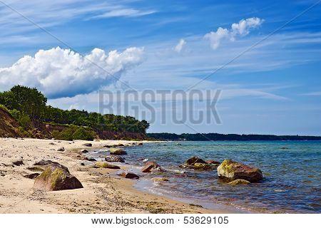 Baltic Beach And Beautiful Cumulus Clouds