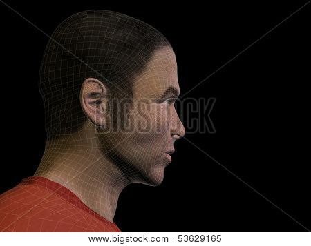 High resolution 3D man or human head made of beige wireframe or mesh isolated on brown background