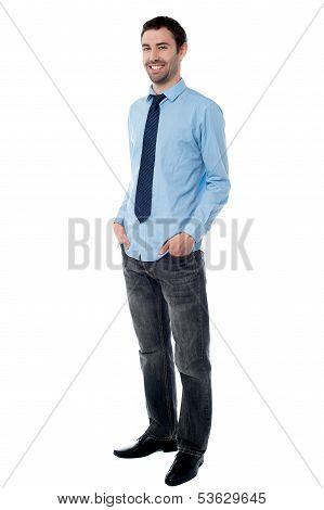 Trendy Corporate Guy Posing Casually