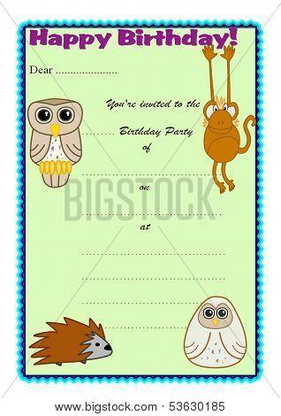 Children's Birthday Party Invitation - Jungle Theme