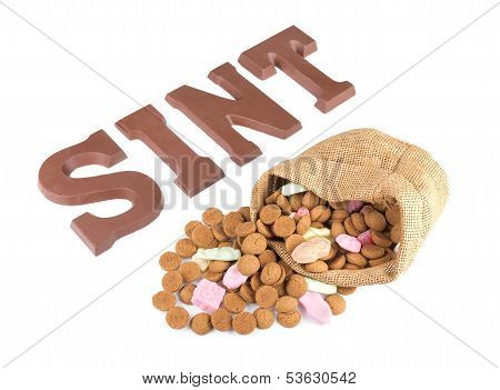 Word Sint And Bag Of Ginger Nuts And Sweets For Dutch Event Sinterklaas