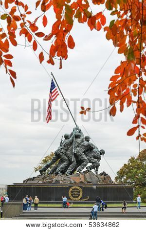 WASHINGTON, DC - NOV 05: Iwo Jima Memorial in Washington, DC on November 05, 2013. The Memorial honors the Marines who have died defending the US since 1775.and a prominent tourist attraction point