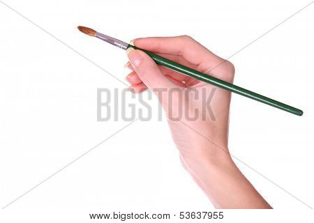 Hand holding brush isolated on white
