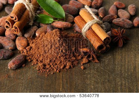 Cocoa beans, cocoa powder and spices on wooden background