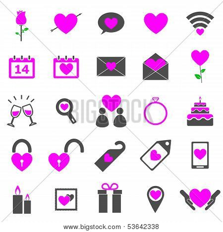 Valentine's Day Color Icons On White Background