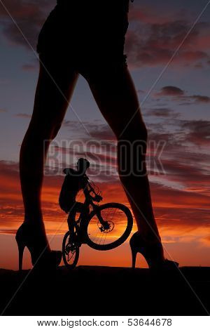Silhouette Woman Legs Face Side Man On Bike