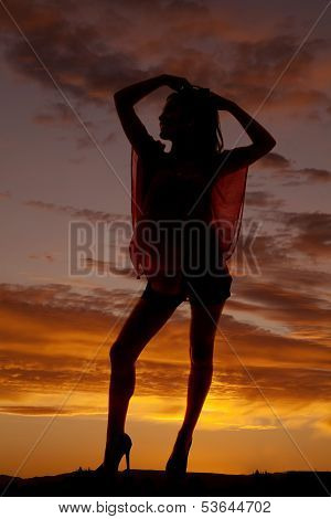 Silhouette Woman Stand Hands Hair Knee Out
