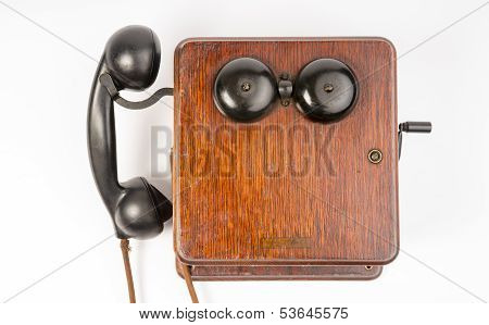 Vintage Obsolete Oak Telephone Set Bakelite Handset Wallbox Ringer