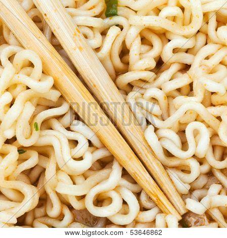 Eating Instant Ramen By Wooden Chopsticks
