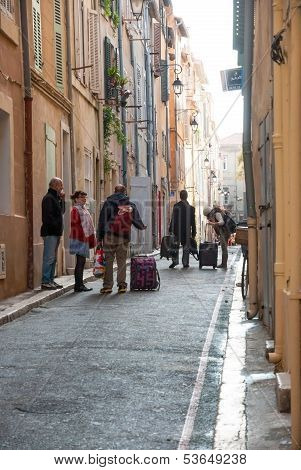 People On The Streets Of Marseille Old Town