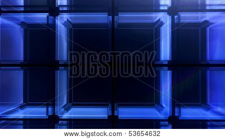 Cube Blue Background