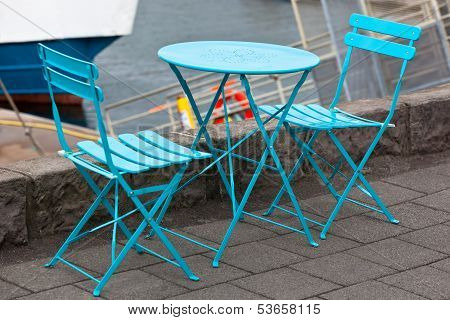 Cafe Table And Two Portable Chairs