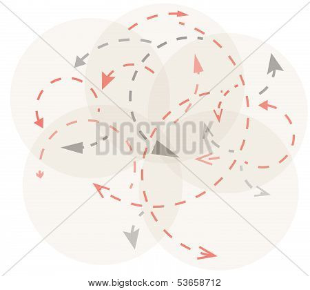 Circles With Gray And Red Arrows