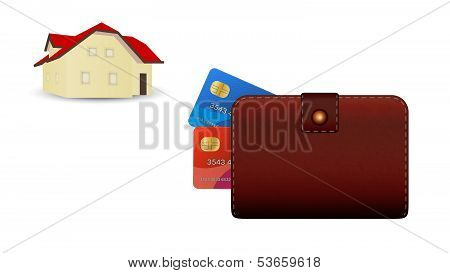 Wallet, Credit Card And House