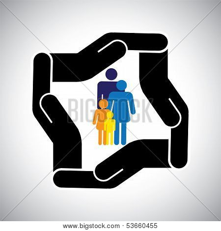 Protection Or Safety Of Family Of Father, Mother, Kids Concept Vector