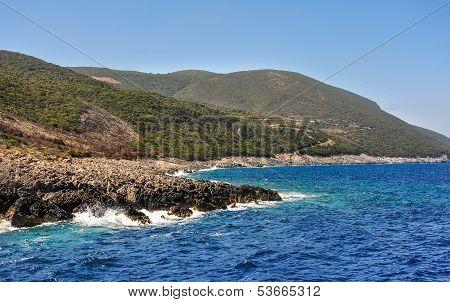 Coast of Greece. View of the coast from the sea