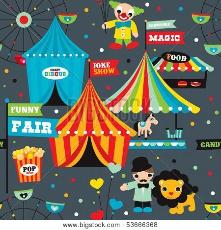 Seamless kids circus night fun fair illustration fabric background pattern in vector