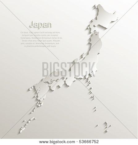 Japan map card paper 3D natural vectorer 3D