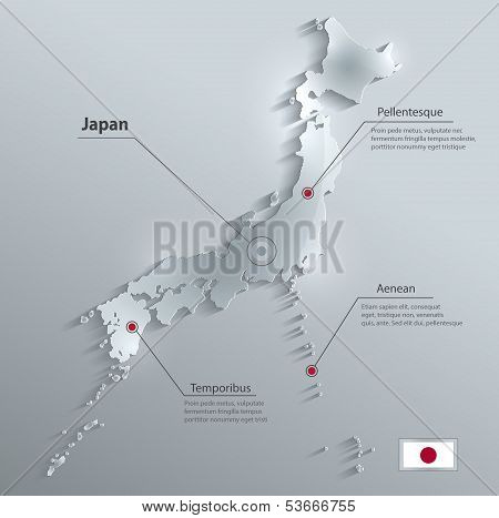 Japan map glass card paper 3D vector