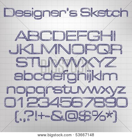 Sketched vector alphabet