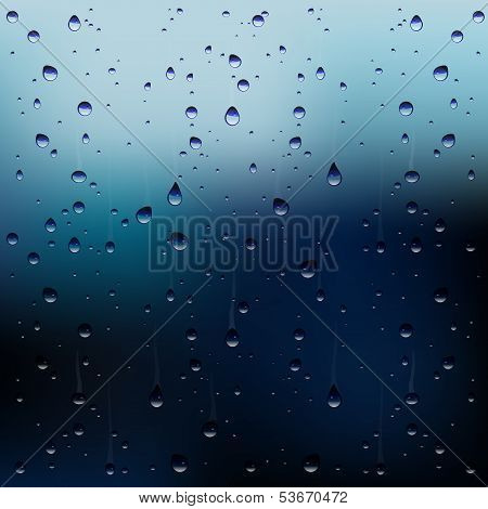 Vector Raindrops On Window