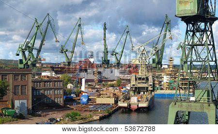 Gdansk Shipyard In A Panorama