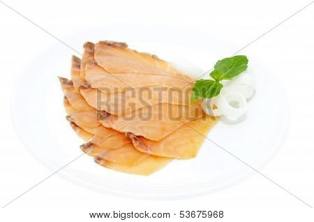 sliced salmon meat
