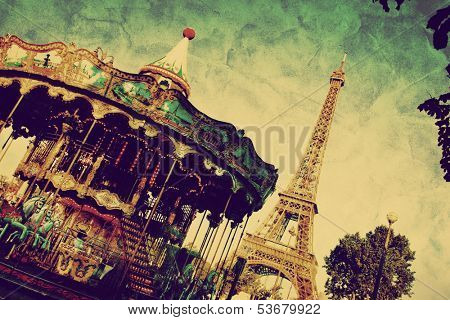 Eiffel Tower and vintage carousel, Paris, France. Retro style