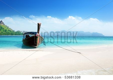 long boat on island, Thailand
