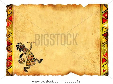 Old parchment with African traditional patterns. Isolated on white background