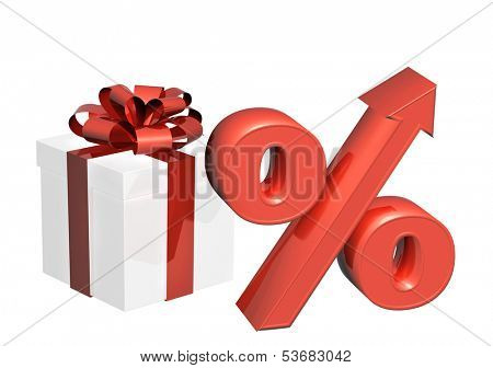 Conceptual image - percent growth. Object on white background