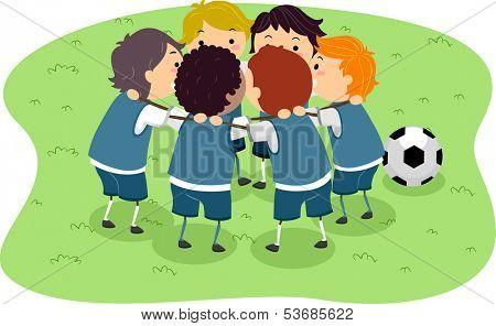 Illustration of Little Boys in a Soccer Game Huddled Together