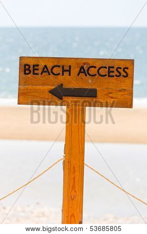 Beach Access Sign To The Public Bay, Huahin, Thailand