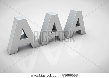 3D Render Aaa Financial Credit Notation